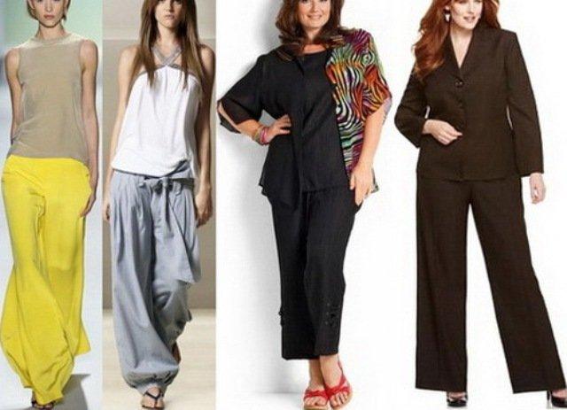Одежда для полных ног - фото: брюки-паруса, шаровары, укороченные брюки - к
