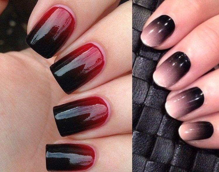 Нарощенные ногти дизайн омбре 6